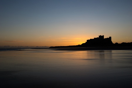 First light at Bamburgh Casle